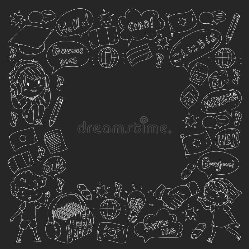 Escola de língua para o adulto, crianças Cursos das crianças Inglês, italiano, espanhol, japonês, chinês, árabe, alemão Jogo ilustração royalty free