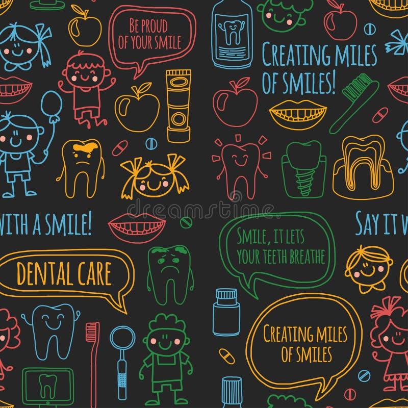 A escola denistry do ` s das crianças, jardim de infância, berçário caçoa com dentes healty Sorrisos, escovas de dentes, meninos  ilustração royalty free