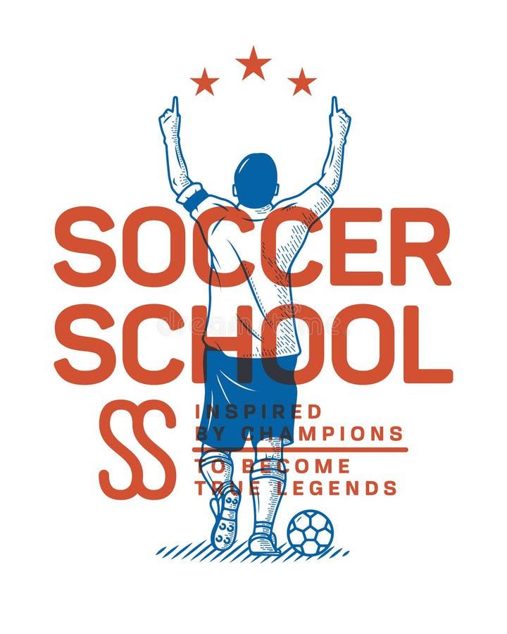 Escola do futebol a tornar-se como um campeão ilustração royalty free