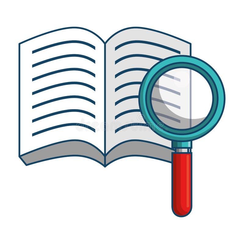 Escola do livro com ícone da fonte da lupa ilustração stock