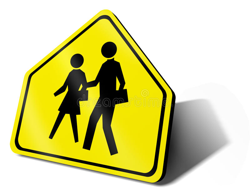 Escola do sinal de tráfego ilustração royalty free