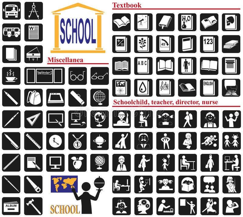 Escola dos ícones ilustração royalty free