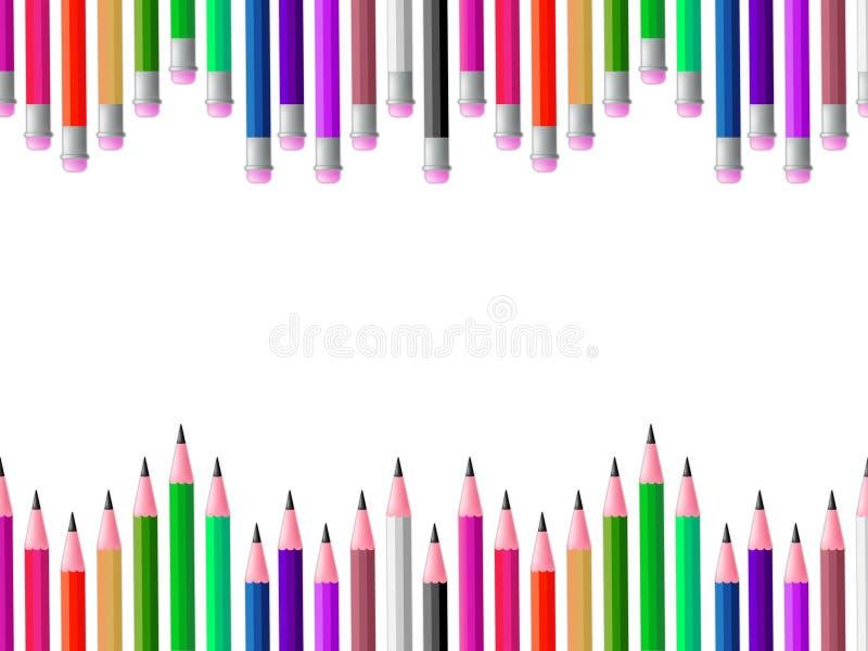 A escola dos lápis significa o espectro de cores e a aprendizagem ilustração do vetor