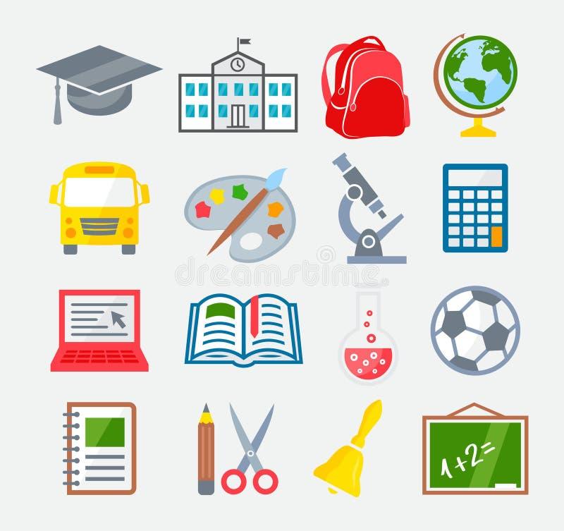 Escola e ícones coloridos da educação ilustração stock