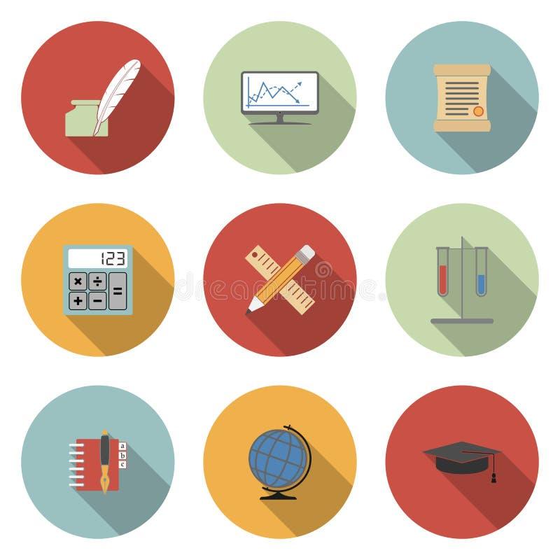 Escola e ícones lisos do vetor da educação ajustados ilustração royalty free