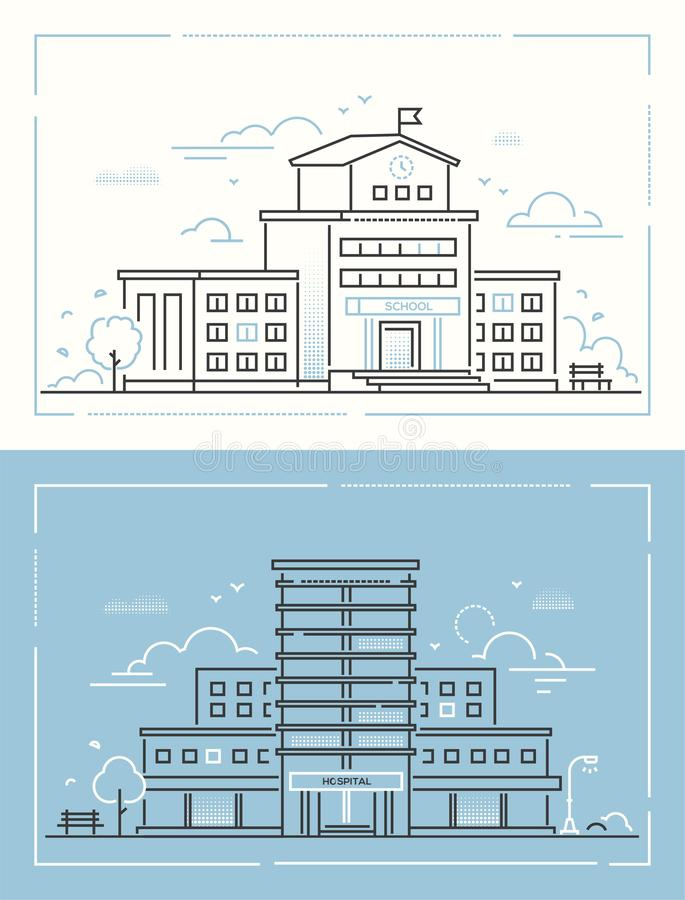Escola e hospital - ajuste da linha fina ilustrações do vetor do estilo do projeto ilustração royalty free