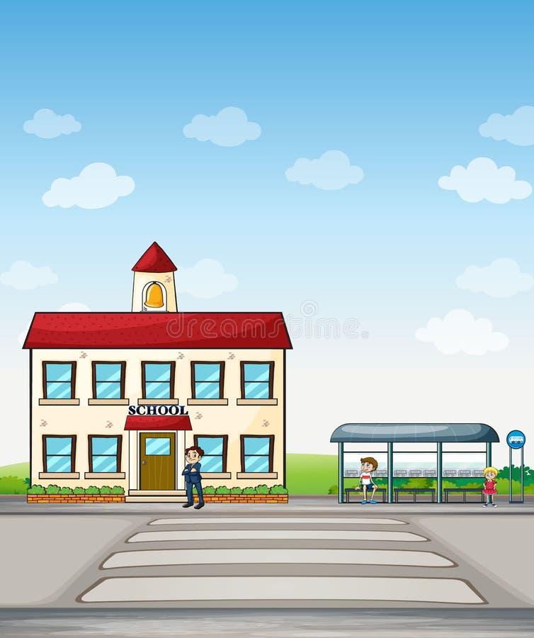 Escola e parada do ônibus ilustração royalty free