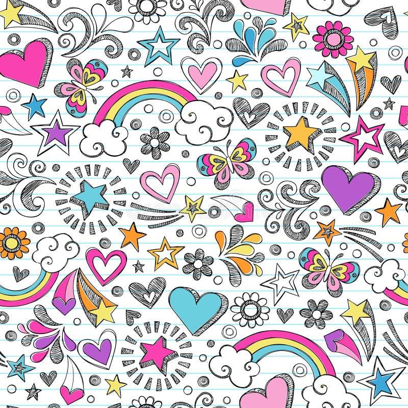 A escola esboçado Doodles o teste padrão do coração e de estrelas ilustração do vetor
