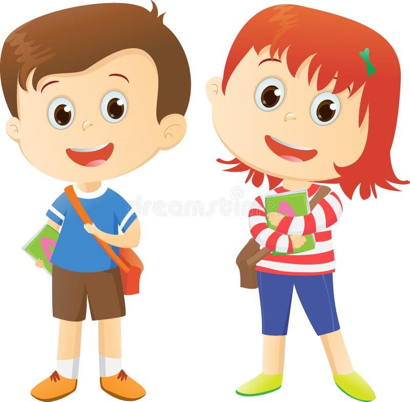A escola feliz caçoa desenhos animados ilustração do vetor