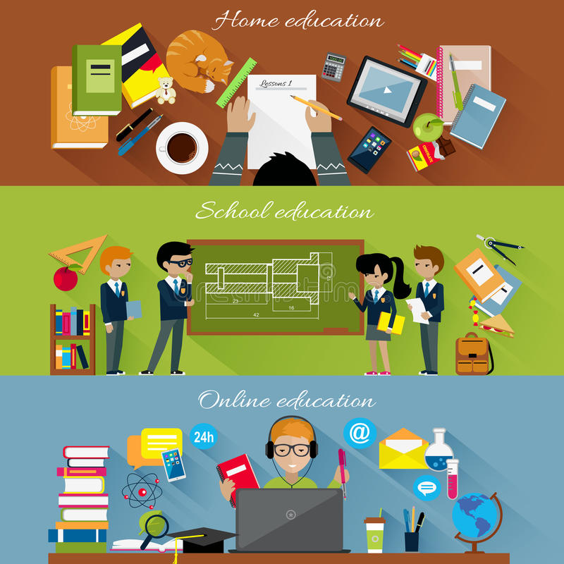 Escola home e conceito em linha da educação ilustração do vetor