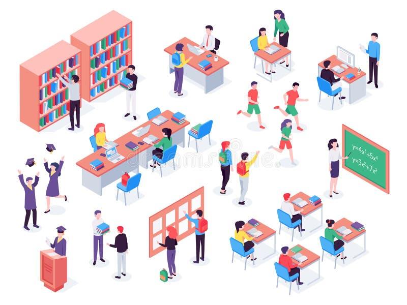 Escola isométrica Crianças e professor na sala de aula, estudantes na biblioteca de escolas e vetor 3d da sala de aula da educaçã ilustração royalty free
