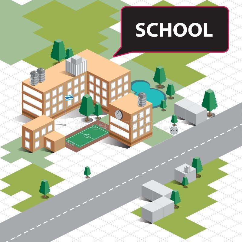 Escola isométrica do mapa ilustração do vetor