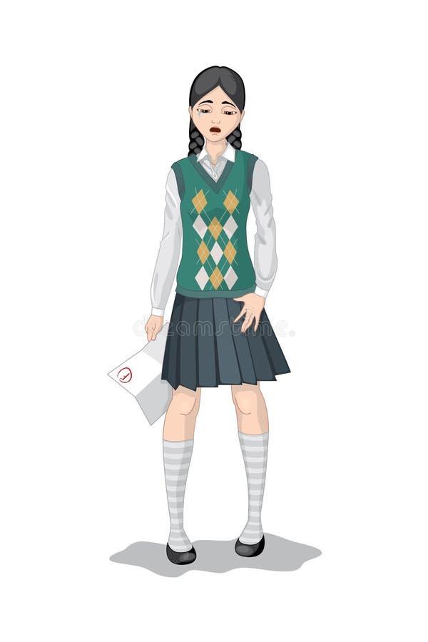 Escola-menina de grito com f-categoria ilustração royalty free