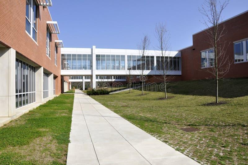Escola moderna com crosswalk coberto imagem de stock