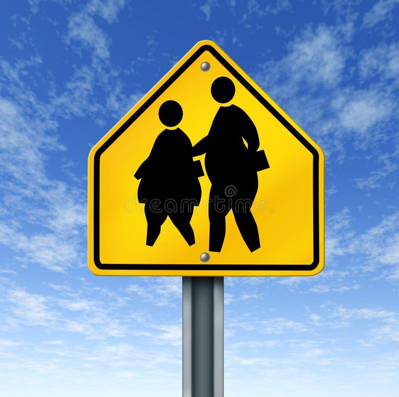 A escola obeso gorda caçoa o sinal de rua ilustração do vetor