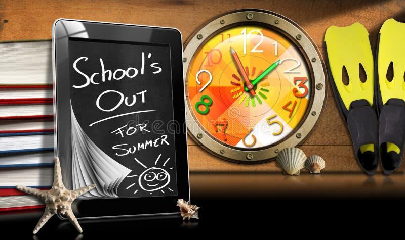 Escola para fora para o verão - tablet pc ilustração royalty free