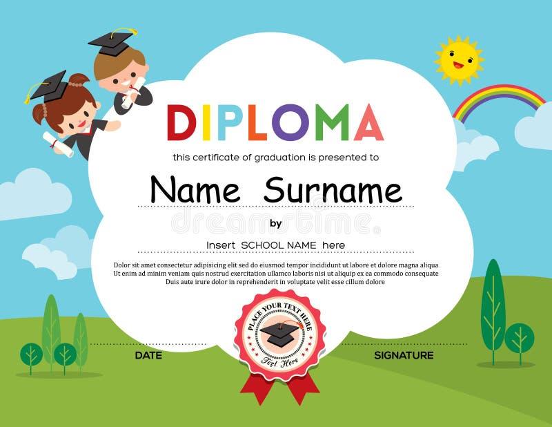 A escola primária pré-escolar caçoa o fundo do certificado do diploma ilustração stock