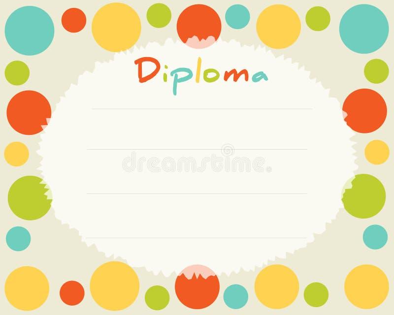 Escola primária pré-escolar Fundo do certificado do diploma das crianças ilustração stock