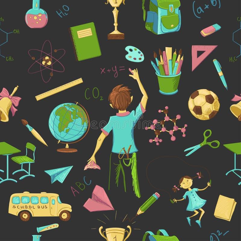Escola sem emenda colorida do teste padrão ilustração royalty free