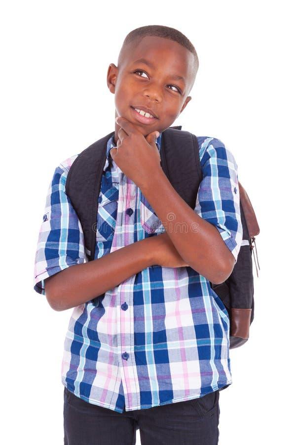 Escolar afroamericano que mira para arriba - a personas negras imagen de archivo libre de regalías