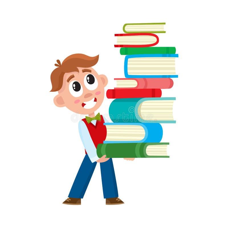 Escolar que sostiene la pila enorme, pila de libros ilustración del vector