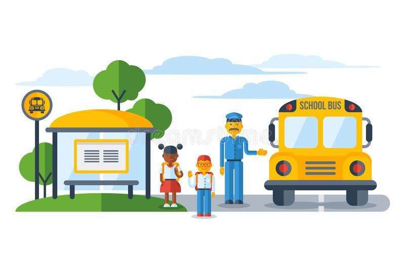 Escolares que consiguen en schoolbus amarillo en la parada de autobús ilustración del vector