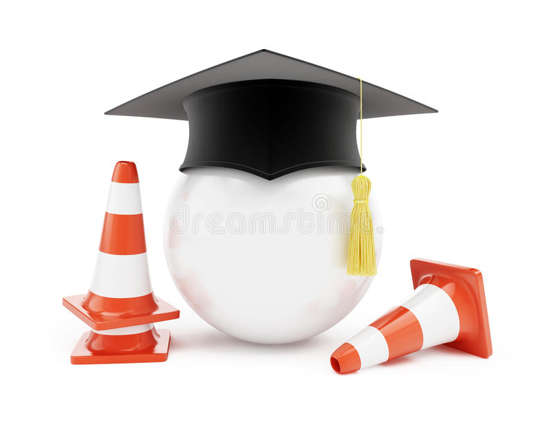 Escolas de condução do carro, cones do tráfego, construção de estradas ilustração stock