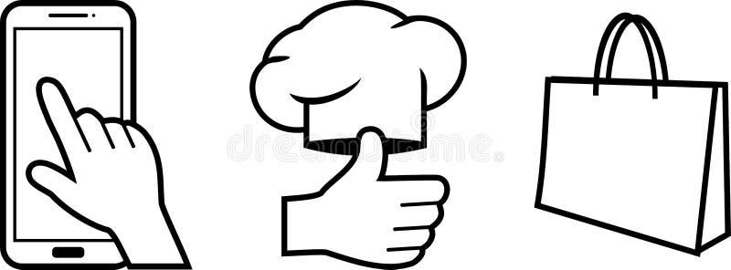 Escolha, cozimento e entrega da ordem Três ícones passo a passo ilustração stock