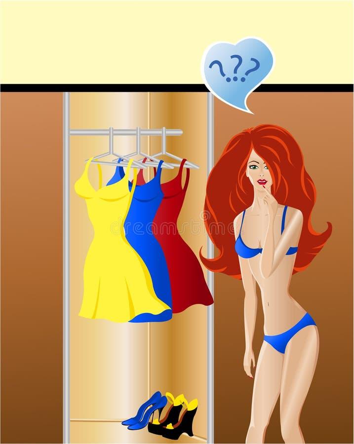 Escolha da forma. A menina pensa que desgastar do vestido ilustração royalty free
