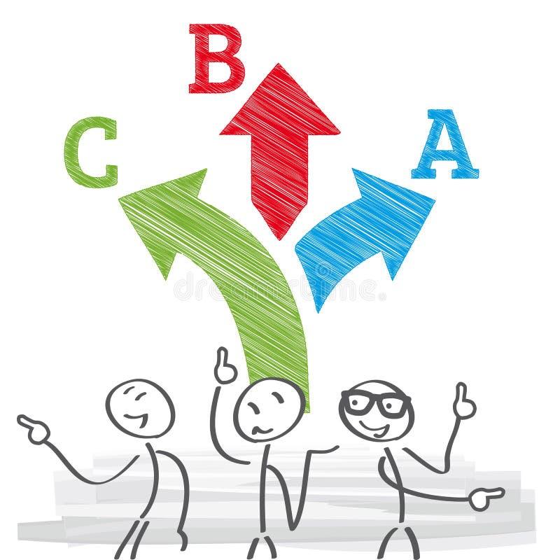 Escolha da tomada de decisão ou conceito da dúvida ilustração do vetor