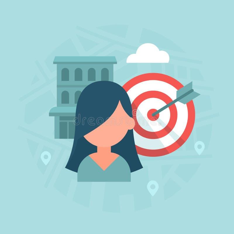 Escolha de objetivos baseada lugar ilustração stock
