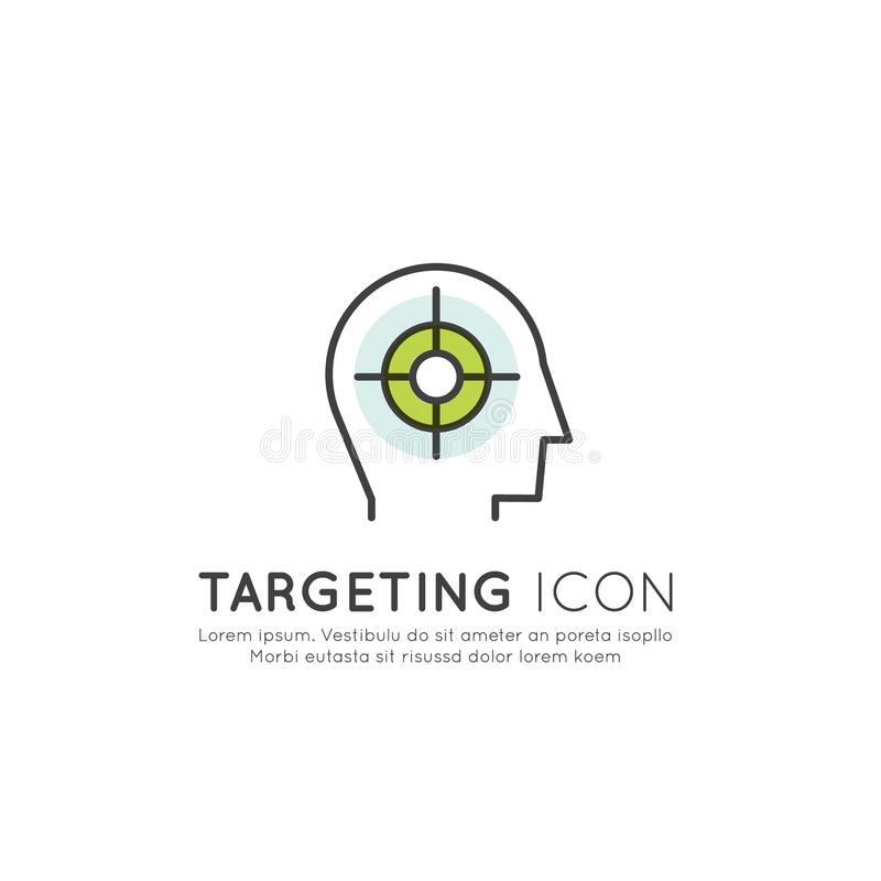 Escolha de objetivos e conceito do público-alvo com perfil humano, ilustração de SMM, elemento isolado da Web ilustração royalty free