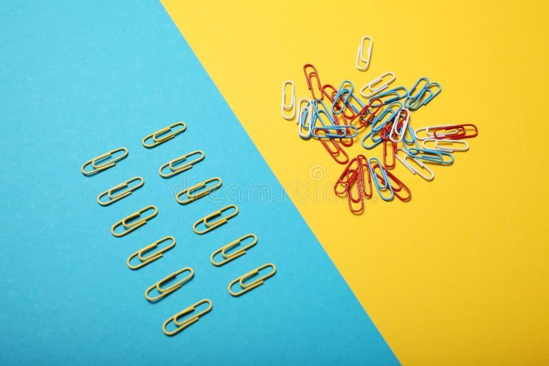 Escolha do caos e da ordem Uma comunica??o empresarial foto de stock