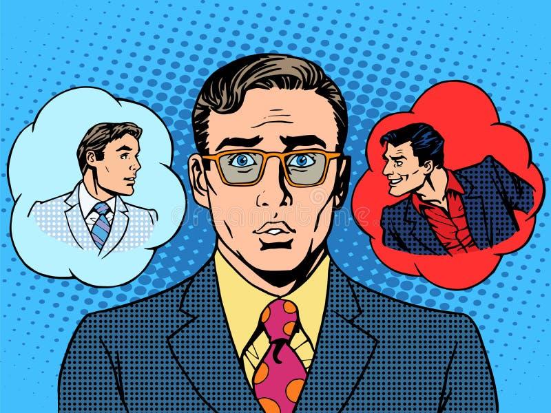 Escolha do homem de negócios do anjo do diabo entre o bom ilustração royalty free
