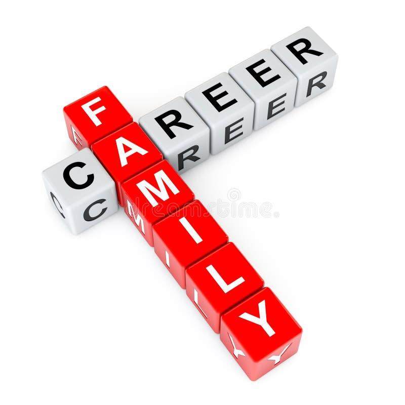 Escolha entre a família e os blocos do cubo das palavras cruzadas da carreira rendição 3d ilustração royalty free