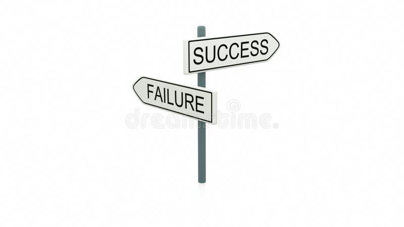Escolha entre o sucesso e a falha ilustração do vetor