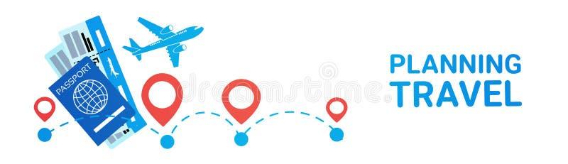 Escolha horizontal planejando, hotel e bilhetes da rota do feriado da bandeira do curso registrando o conceito ilustração royalty free