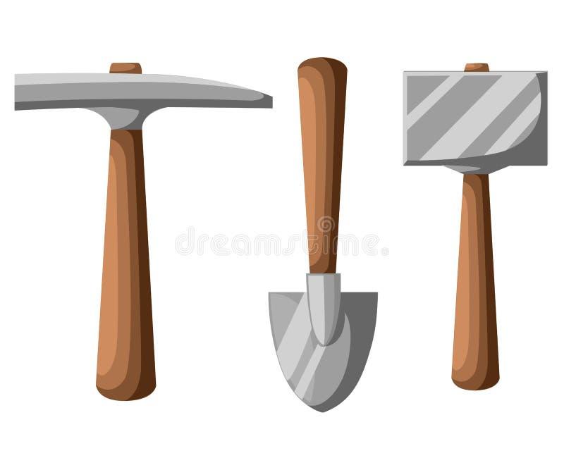 Escolha a ilustração das ferramentas, da pá e da picareta da mineração da pá isolada no branco ilustração royalty free