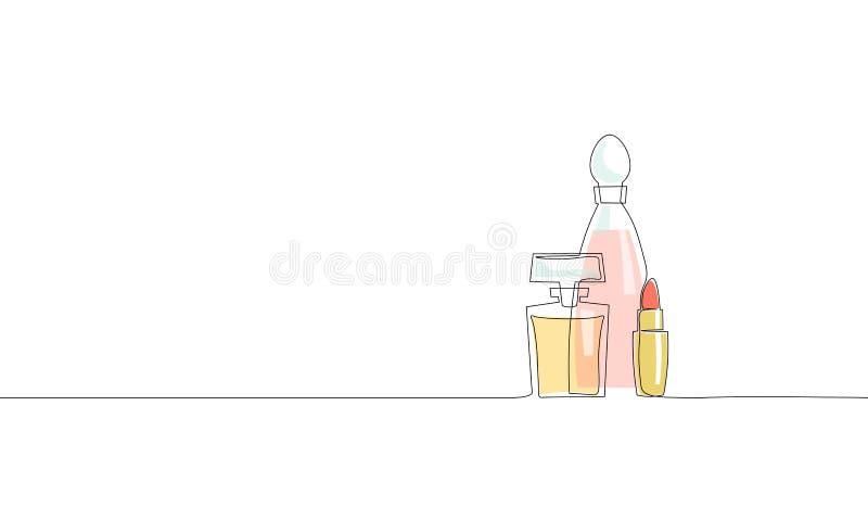 Escolha a linha contínua silhueta dos cosméticos do batom da garrafa de perfume da arte Pacote do vidro do símbolo do encanto da  ilustração do vetor