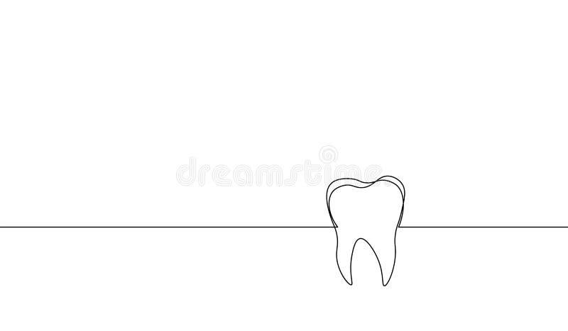 Escolha a linha contínua silhueta humana anatômica do dente da arte Medicina saudável contra o conceito da cavidade da raiz do es ilustração do vetor