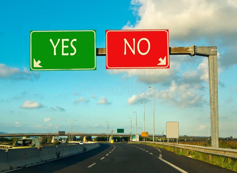 Escolha a maneira direita, sim ou não fotografia de stock royalty free