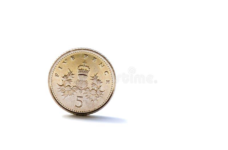 Escolha a moeda britânica de cinco moedas de um centavo imagens de stock royalty free