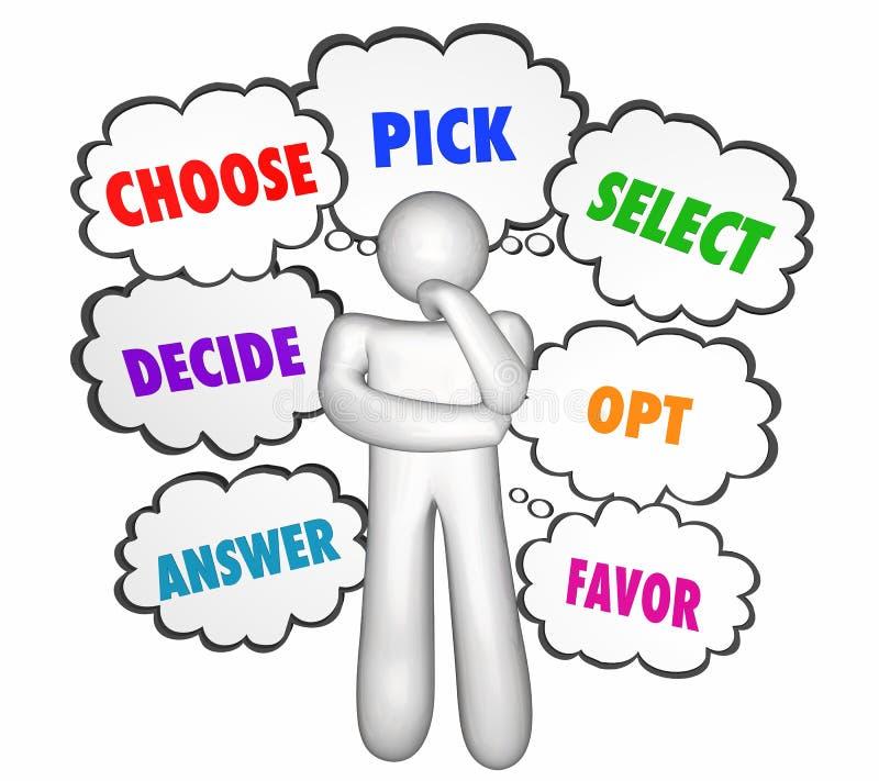 Escolha nuvens seletas do pensamento do pensador das opções da picareta ilustração royalty free
