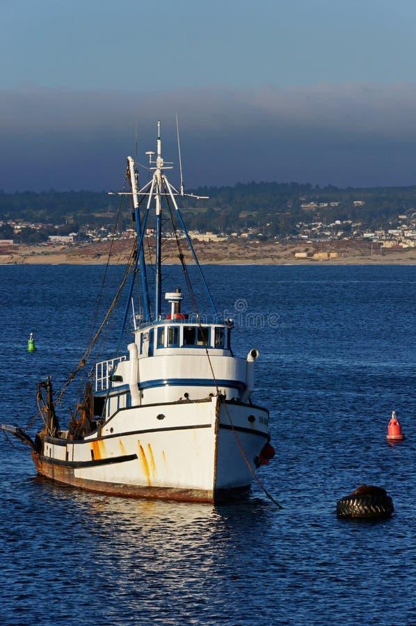 Escolha o barco de pesca amarrado no porto de Monterey, Califórnia fotos de stock