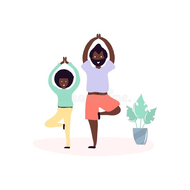 Escolha o pai preto e os afro-americanos do filho que fazem a ioga exercitam junto na sala em casa ilustração royalty free
