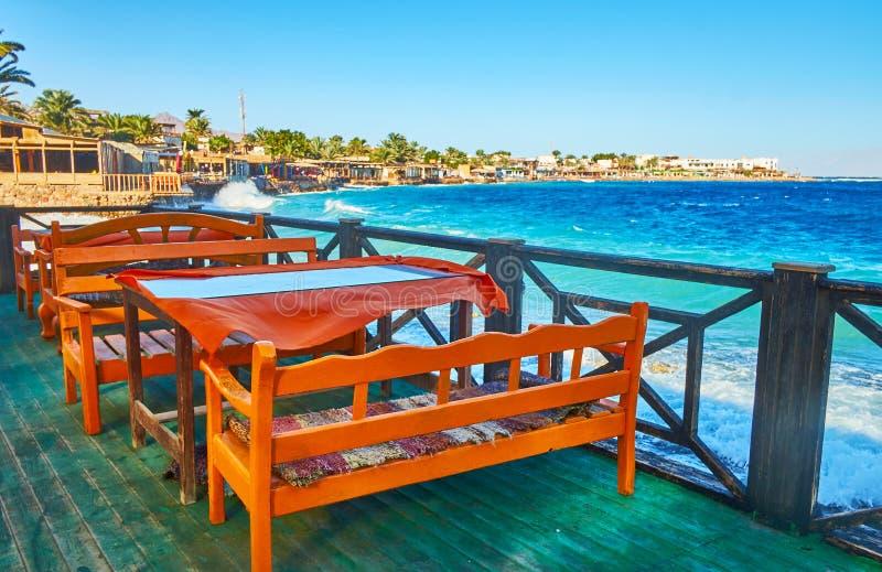 Escolha o restaurante em Dahab, Sinai, Egito imagens de stock royalty free