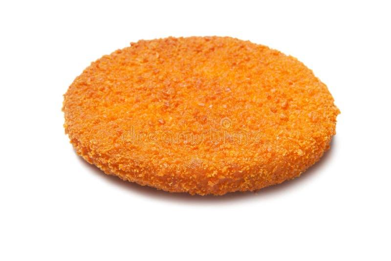 Escolha o rissol fritado dos peixes do Hamburger isolado no branco fotos de stock royalty free
