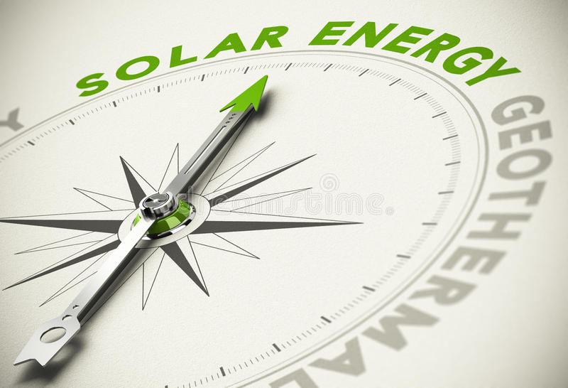 Escolha verde das energias - conceito da energia solar ilustração stock