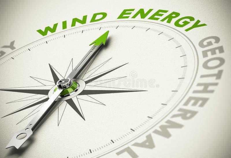 Escolha verde das energias - conceito das energias eólicas ilustração do vetor
