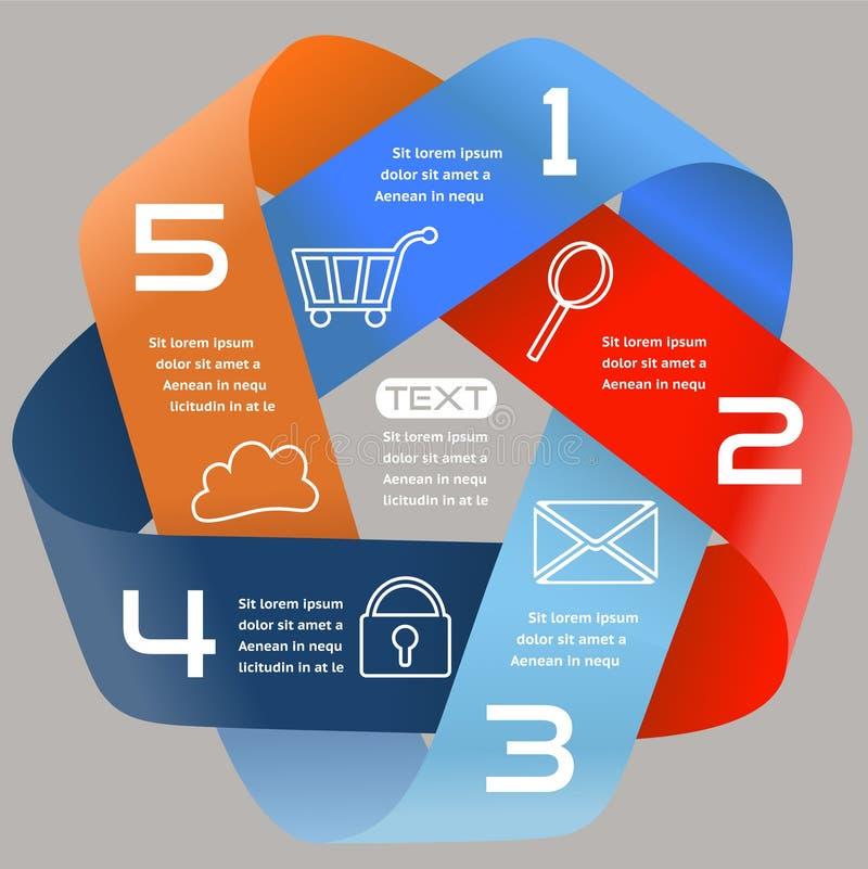 Escolhas brilhantes EPS10 da fita infinita das opções de Infographics cinco ilustração royalty free
